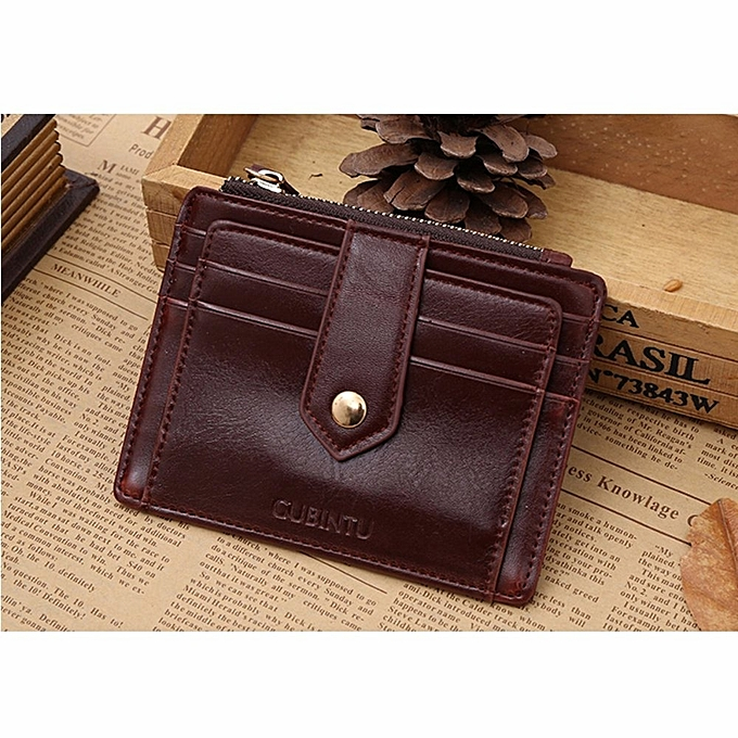 7f03040a8f70 Men Leather Bifold Slim Wallet Purse Credit Card ID Holder Money Clip Coin  Bag Brown