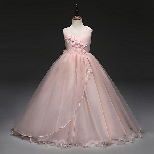10822135667 Fashion new Retail Lace Flower Girl Dress Children Kids Beautiful Wedding  Party Dress Girl Formal Party Pageant Long Princess Dress-pink