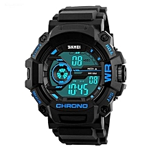 1233 Men Sports Multifunction LED Watch Fashion Digital Wristwatches Waterproof Outdoor Watch - Blue
