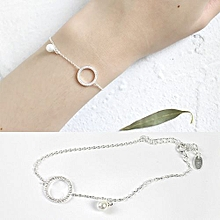 Fashion White Shell Pearl 925 Sterling Silver Circle Bracelet