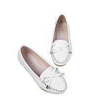 UJ Summer Elegant Charming Women Flat Soft PU Leather Round Toe Single Shoes White