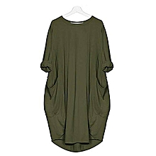 32695177969c2b Plus Size Womens Casual Long Tops Dress Pocket Loose Dress Ladies Crew Neck