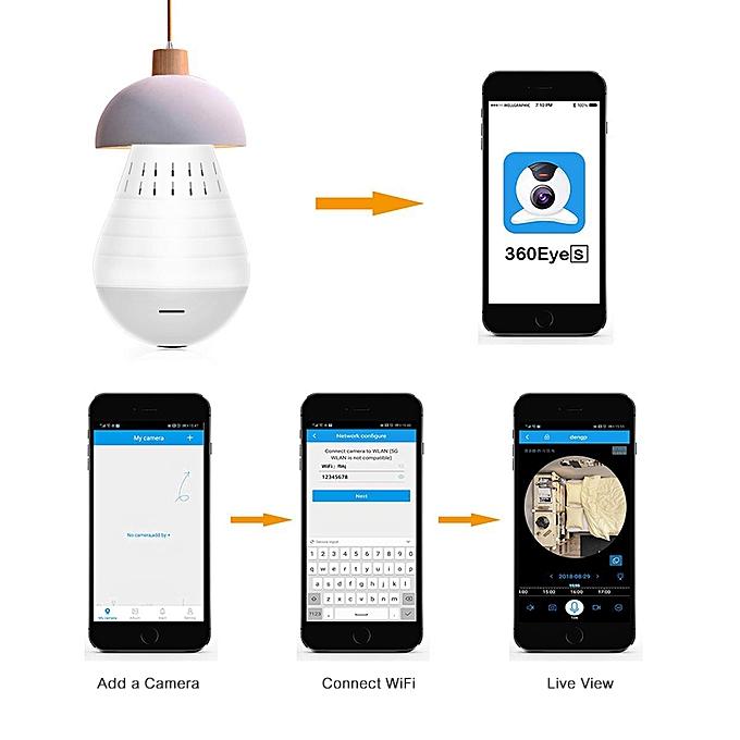 Bulb Lamp Camera LED Light 360 Degree Panoramic Home Security WIFI IP  Camera Night Vision Fisheye Surveillance System(No night vision)