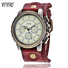 Lady  Leather Wrist Watch CCQ CCQ Fashion Men Date Stainless Steel Leather Analog Quartz Sport Wrist Watch-Red