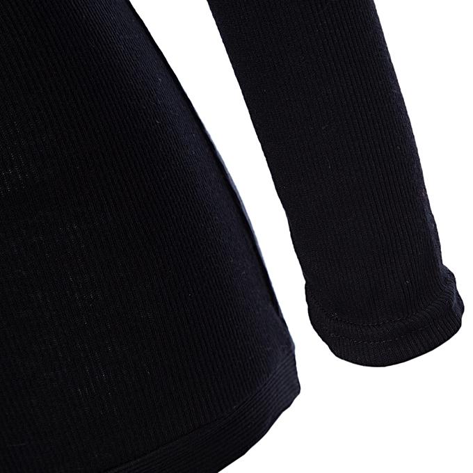 2027540bdd50 ... Sexy Plunging Neck Long Sleeve Button Design Skinny Ladies Romper -  BLACK ...