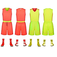 0dec9bef5 Longo Double Side Customized Breathable Men s Basketball Team Sports Jersey  Uniform-Fluo Green Hotpink(6308)