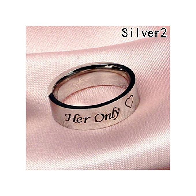 Tanson 1 Pc His One Her Only Ring Stainless Steel Rings For Women Men