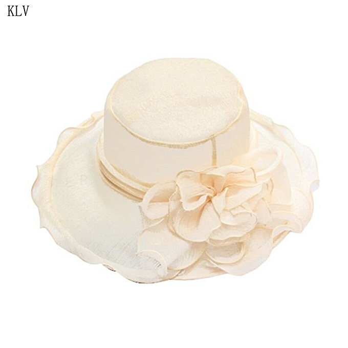 sports shoes dae7c 21828 Womens Kentucky Derby Church Sun Hat Wide Brim Floral Lace Tea Party  Fascinator Detachable Flower Ruffles