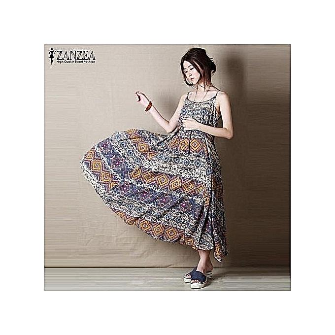 417e2c24b0 Vintage Print Maxi Long Dress Bohemian Women Summer Beach Dresses Casual  Sleeveless Loose — multicolor