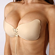 Women Silicone Self-Adhesive Backless Strapless nude Push up Invisible Bra A B C D-Beige