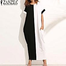 ZANZEA Women O-Neck Short Sleeve Casual Loose Long Maxi Dress Summer Batwing Party Evening Kaftan Vestido Plus Size S-5XL (Black White)