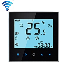 LCD Display Air Conditioning 4-Pipe Programmable Room Thermostat for Fan Coil Unit, Supports Wifi (Black)
