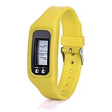 HONHX Africashop Watch  Digital LCD Pedometer Run Step Walking Distance Calorie Counter Watch Bracelet-Yellow
