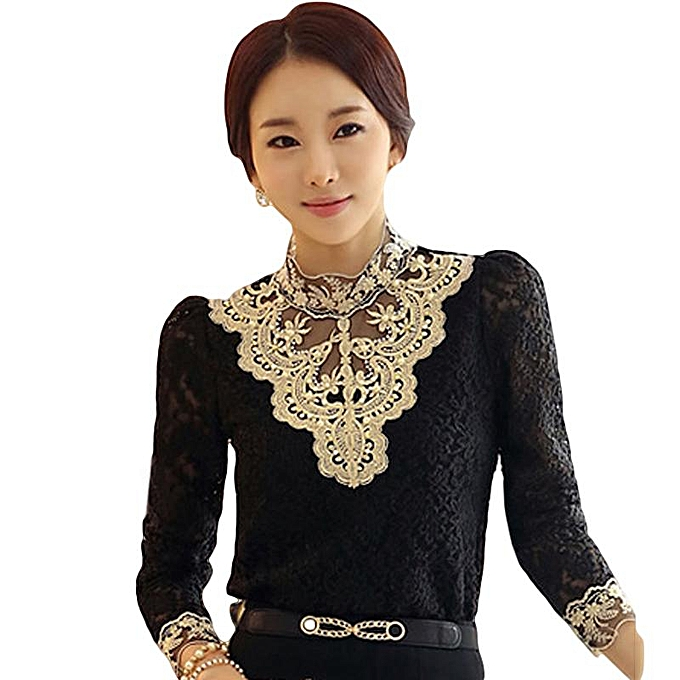 e17986b370ff3a Fashion Women Sexy Long Sleeve Shirt Casual Lace Blouse Loose Cotton Top T  Shirt