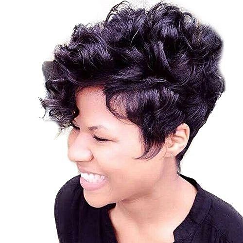 Popfeel Women Short Black Front Curly Hairstyle