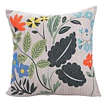 Unisex Vivid Spring Square Linen Pillow - White