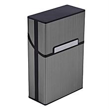 Light Aluminum Cigarette Cigar Case Pocket Box Container Storage Holder-Gray