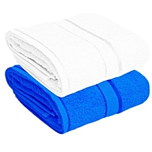 For Her & For Him Couples Bath Towel Set of 2 - 100% Premium Cotton  -  White & Blue.