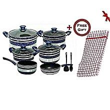 13 Piece Non Stick Cooking Pots,Pans & Cooking Sticks,Cookware set - Blue + FREE Gift Kitchen Towel