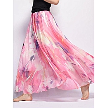 Fashion Women Bohemian Chiffon Floral Print Elastic Waist Ankle-length Swing Maxi Skirt 32