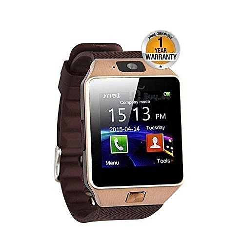 DZ09 Bluetooth Smart Watch - 128MB ROM - 64MB RAM - 0.3MP Camera - Gold/Brown.