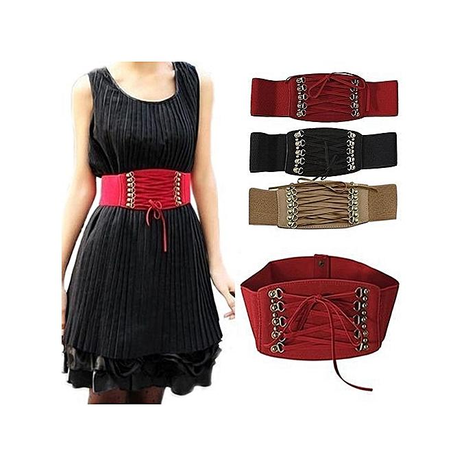 2a5fa79ff0 Fashion Women s Lady Rivet Elastic Buckle Wide Waist Belt Waistband Corset- Black