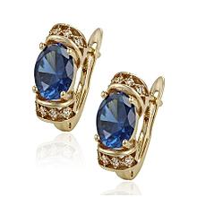 Gold Earring Loops -Blue