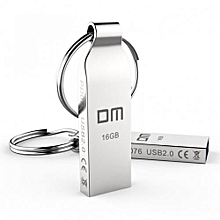 Metal 16GB Storage Flash Disk Pen Drive with Key Ring - Silver