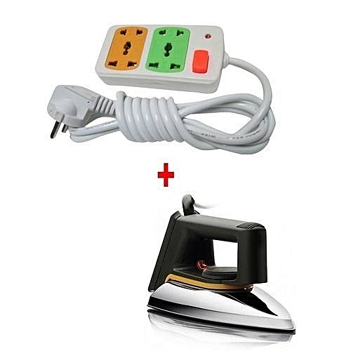 Iron box Dry + FREE 4-way Socket Extension Cable - Silver