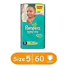 Baby Dry Diapers, Size 5, Jumbo Pack (Count 60)