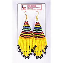 African Themed Yellow Earrings
