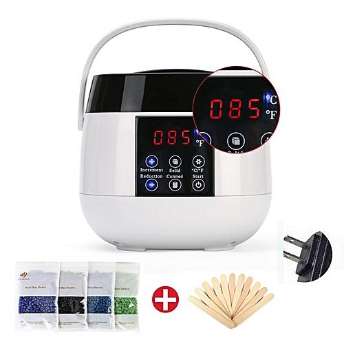 Waxing Kit LED Heater Wax Warmer Pot Hair Removal Wax Bean Stick Machine  Kit White US Plug