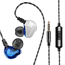 QKZ CK9 3.5mm Wired Headphones Dual Moving Coil In-ear Headset Heavy Bass Stereo Music Earphones In-line Control with Microphone Storage Box PRI-P
