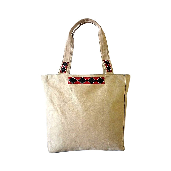 54423bedf85 MAASAI COLOUR Beige Beaded Canvas Tote   Best Price   Jumia Kenya