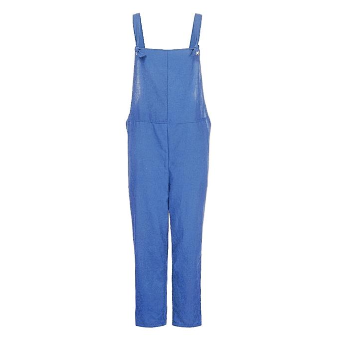 Buy Fashion Jiuhap Store Women Loose Dungarees Loose Long Pockets
