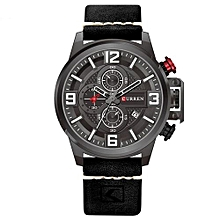 Man Sport Casual Watch Top Brand Luxury Date Leather Band Chronograph Quartz Wrist Watches