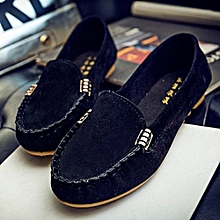 Womens Moccasin Suede Slip On Flat Loafers Ladies Casual Ballerina Ballet Shoes Black