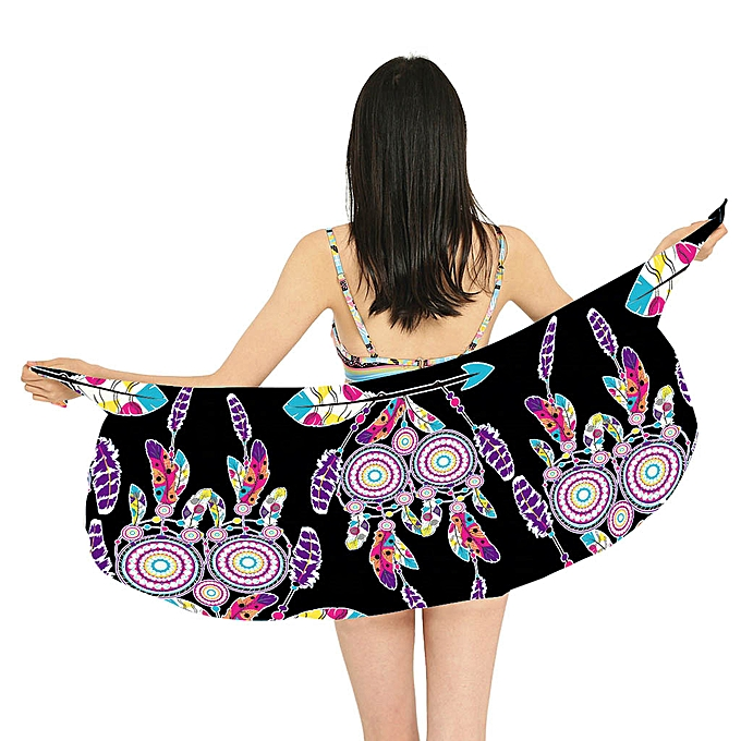 da7357823ea9b jiahsyc store Women Printing Sunscreen Shawl Beach Bikini Swimwear Wrap  Coverup Skirt Swimsuit