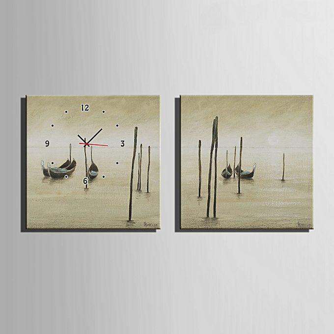 Generic Decorative Mural Wall Clock Framed Boats Pattern Canvas Artwork 2pcs Colormix Buy