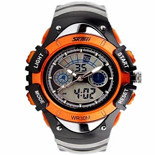 c4afa030e35 Skmei Fashion Kids Watches Sports 6 Colors Digital Rubber Children Watch Boy  Waterproof 3Bar Gift Watches Student Stopwatch SKMEI(Orange)