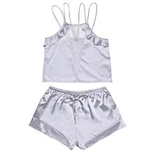 Women Spaghetti Strap Lace Patchwork Sleeveless Ruffles Pajama Set Sleepwear ( Silver )