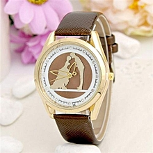 Ms Lovers Kiss Pattern Women Leather Band Watches Sport Analog Lady Quartz Date Wrist Watch(Brown)