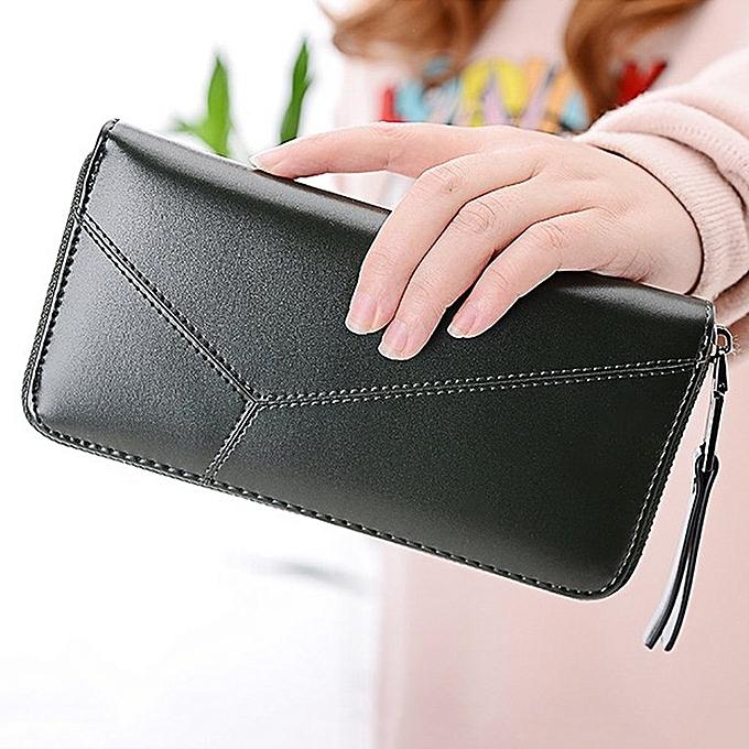 d764c093a82a8f ... Women Zipper Purse Multifunctional Hand Bag PU Leather Money Organizer  Wallet army green ...