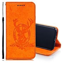 Deer Head Pattern Horizontal Flip Leather Case for iPhone X / XS, with Holder & Card Slots & Wallet & Lanyard(Orange)