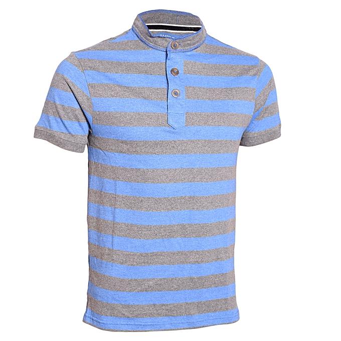 daa13e5918f11 Blue and Grey Striped Men's Pure Cotton T-Shirt