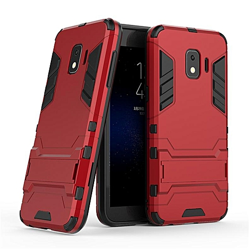 hot sale online 2cbae 12f16 Hard Cover Invisible Bracket 2 In 1 New Mobile Phone Case For Samsung  Galaxy J2 Core (Red)