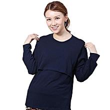 Pregnant Maternity Clothes Nursing Tops Breastfeeding Long Sleeve T-Shirt L-(Navy)XL
