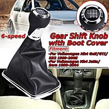 6 Speed Gear Shift Knob Gaiter Boot Cover for VW Jetta Golf GTi R32 MK4 Polo