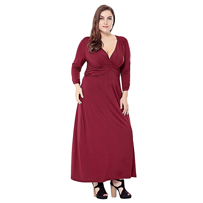 ... Sexy Plunge Neck Long Sleeve Plus Size Women Maxi Dress - WINE RED ... b13970a3a
