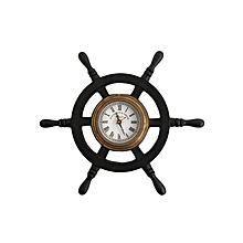 Classic Roman Antique Wheel Ship Clock - Black & Gold